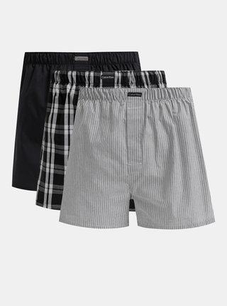 Sada troch pánskych vzorovaných trenýrok v šedej a čiernej farbe Calvin Klein Underwear
