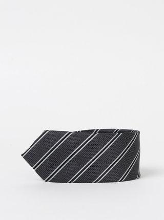 Tmavě šedá pruhovaná kravata Selected Homme Nicholas