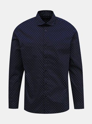 Tmavomodrá vzorovaná slim fit košeľa Selected Homme Freddie