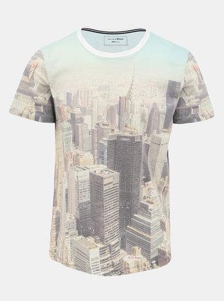 Béžové pánské vzorované tričko Tom Tailor Denim