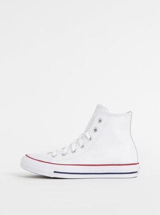 Bílé kožené kotníkové tenisky Converse Chuck Taylor
