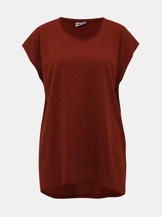 Hnedé basic tričko Noisy May Mathilde