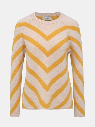 Žluto-růžový vzorovaný svetr ONLY Eliza