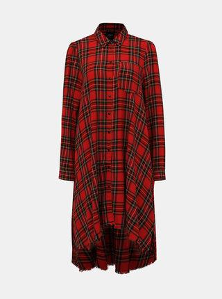 Červené kockované košeľové šaty ONLY Anna