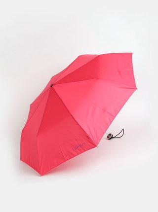 Tmavoružový skladací dáždnik Esprit
