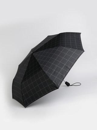 Čierny kockovaný skladací vystrelovací dáždnik Esprit Gents Tecmatic
