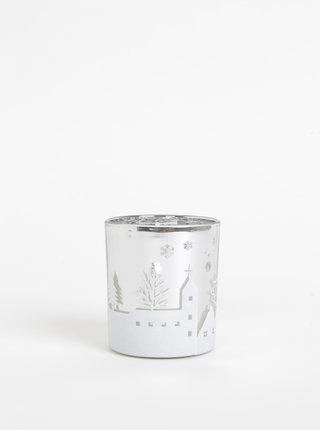 Svícen ve stříbrné barvě s vánočním motivem SIFCON