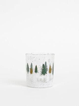 Zeleno-bílý svícen s vánočním motivem SIFCON