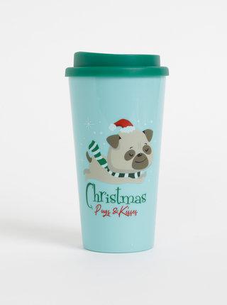 Tyrkysový cestovný hrnček s vianočným motívom SIFCON 400 ml