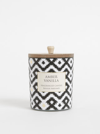 Biela vzorovaná sviečka s vôňou jantáru a vanilky SIFCON