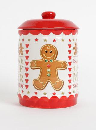 Krémovo-červená dóza s vianočným motívom SIFCON