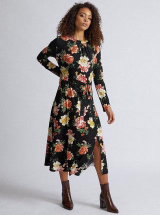 Čierne kvetované midišaty Dorothy Perkins Tall