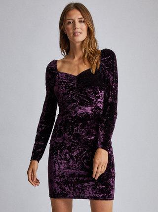 Fialové sametové púzdrové šaty Dorothy Perkins