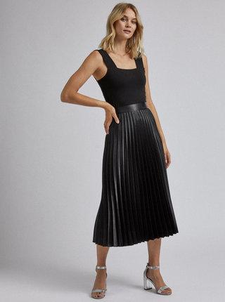 Černá plisovaná saténová midi sukně Dorothy Perkins