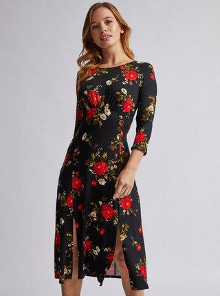 Čierne kvetované šaty Dorothy Perkins Petite