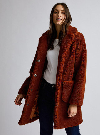 Hnědý kabát z umělé kožešiny Dorothy Perkins