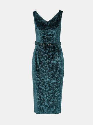 Modré kvetované semišové púzdrové šaty Dorothy Perkins