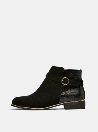 Čierne členkové topánky v semišovej úprave s krokodýlím vzorom Dorothy Perkins