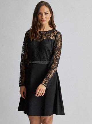 Čierne šaty s krajkou Dorothy Perkins