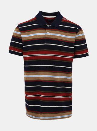 Hnědo-modré pánské pruhované polo tričko GANT