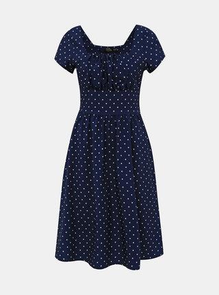 Tmavě modré puntíkované šaty Dolly & Dotty Satin