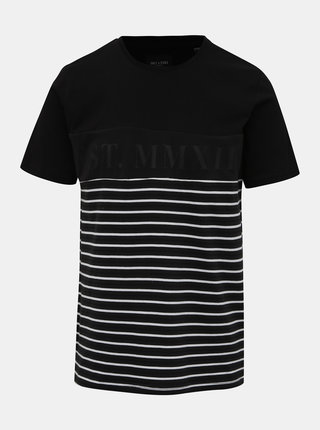 Čierne pruhované tričko ONLY & SONS Balin