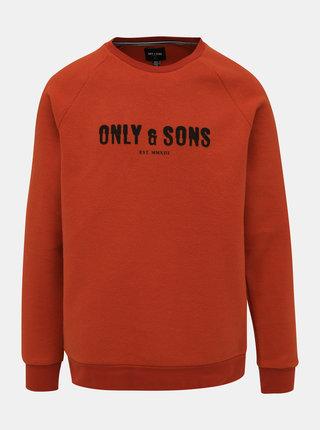 Oranžová fleecová mikina ONLY & SONS Spencer