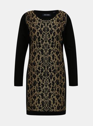 Hnedo-čierne svetrové šaty s leopardím vzorom Blue Seven
