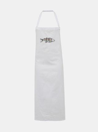 Biela zástera s potlačou ZOOT Original Kapr Sushi