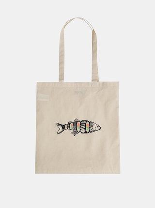 Krémová plátěná taška s potiskem ZOOT Original Kapr Sushi