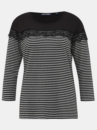 Šedo-černé dámské pruhované tričko s krajkou Blue Seven