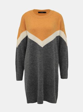 Horčicovo-šedé svetrové šaty s prímesou vlny VERO MODA Luna