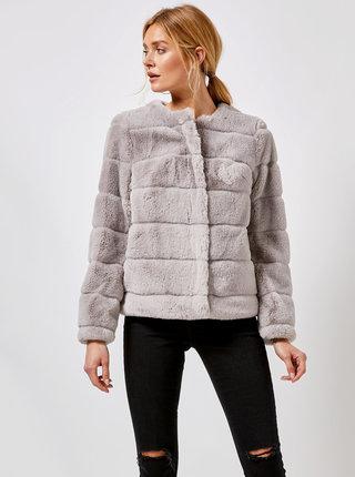 Šedý krátký kabát z umělé kožešiny Dorothy Perkins