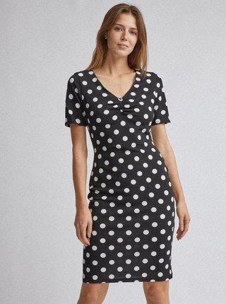 Čierne bodkované púzdrové šaty Dorothy Perkins