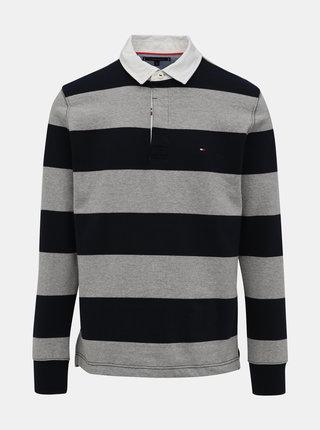 Modro-šedé pánské pruhované polo tričko Tommy Hilfiger