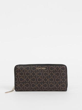Tmavohnedá dámska vzorovaná peňaženka Calvin Klein Jeans