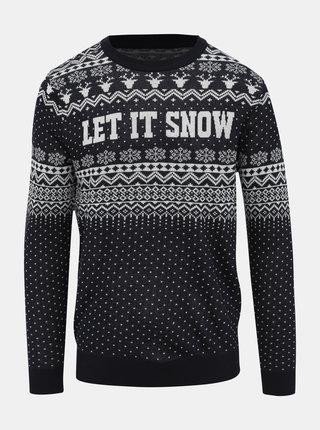 Tmavě modrý svetr s vánočním motivem Jack & Jones Jingle