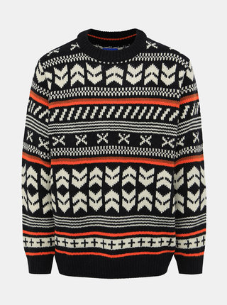 Tmavomodrý vzorovaný sveter Jack & Jones Winter