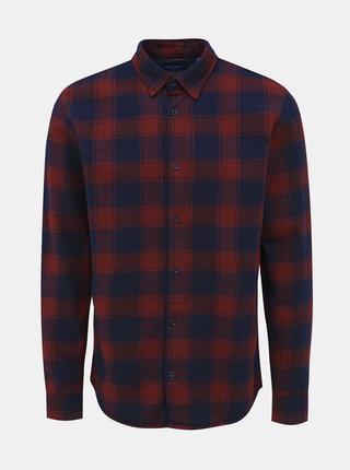 Vínová kockovaná flanelová slim fit košeľa Jack & Jones Tommy
