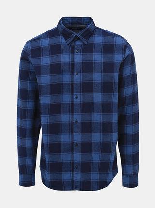 Modrá kockovaná flanelová slim fit košeľa Jack & Jones Tommy