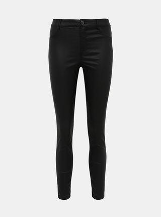 Čierne skrátené nohavice s povrchovou úpravou Dorothy Perkins Frankie