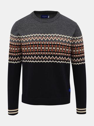 Tmavomodrý vzorovaný sveter Jack & Jones Madison