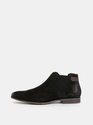 Čierne pánske kožené chelsea topánky bugatti