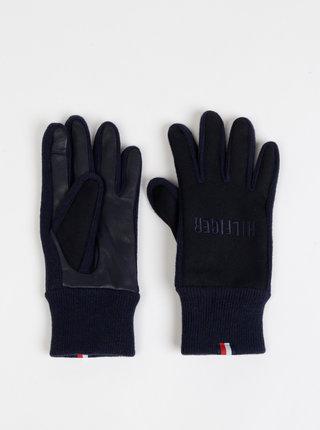 Tmavě modré pánské vlněné rukavice Tommy Hilfiger