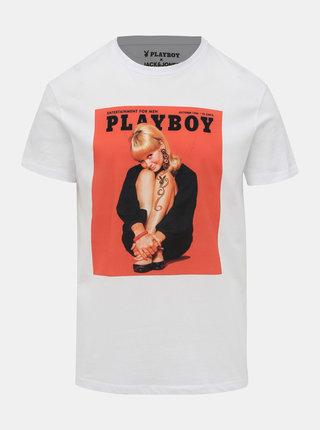 Biele tričko Jack & Jones Playboy
