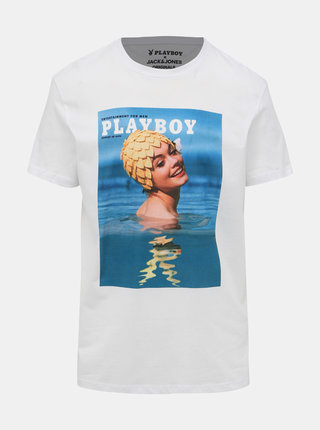 Bílé tričko Jack & Jones Playboy