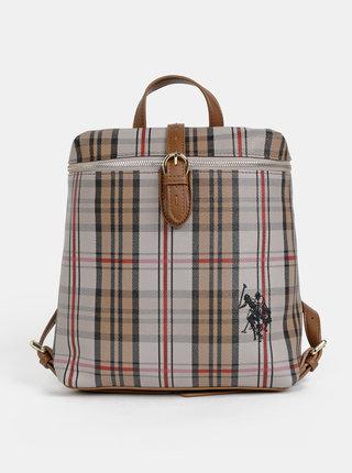 Hnedý dámsky kockovaný batoh U.S. Polo Assn. Patterson Checked