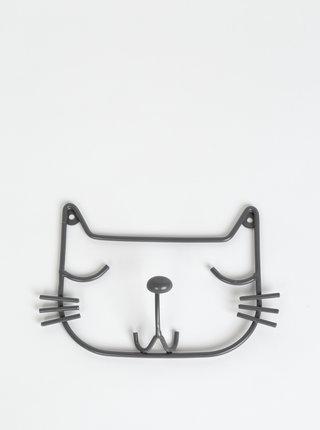 Tmavě šedý věšák ve tvaru kočky Tranquillo Kitty