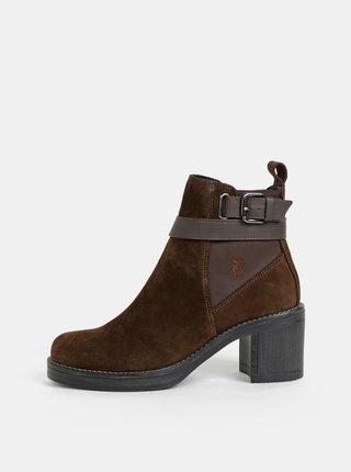 Tmavě hnědé dámské semišové kotníkové boty U.S. Polo Assn. Cecile