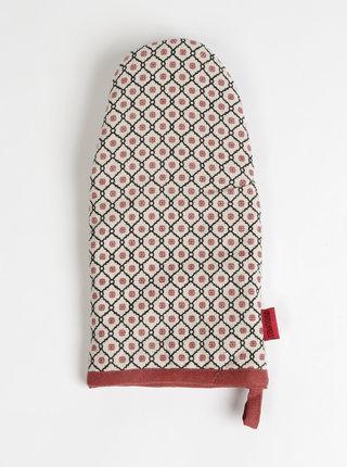 Červeno-béžová vzorovaná chňapka Tranquillo Feliz